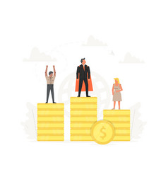 Successful businessman and businesswoman on podium vector