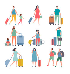 summer travellers stylized characters happy vector image