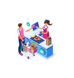 Supermarket buyer concept grocery cart vector