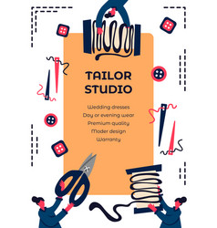 Tailor studio promo poster template with flat vector