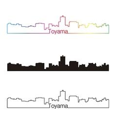 Toyama skyline linear style with rainbow vector image