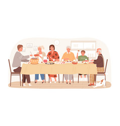 traditional russian family eating dishes sitting vector image