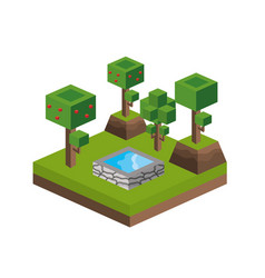 Trees and water source design vector