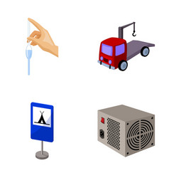 tube forklift and other web icon in cartoon style vector image