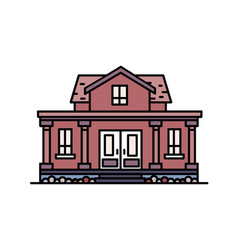 Two-story suburban house with porch and columns vector