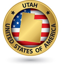 Utah state gold label with state map vector