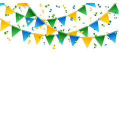 Various streamers and triangular flags over white vector