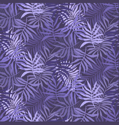 violet pattern with mess of fern tropical leaves vector image