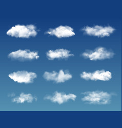 White fluffy clouds transparent fog on blue sky vector