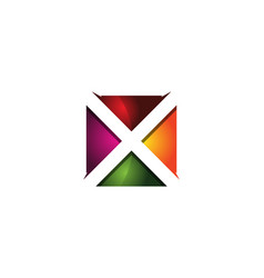 x 3d colorful square letter logo icon design vector image
