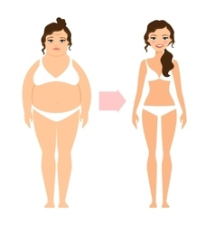 Fat lady and slim diet woman vector