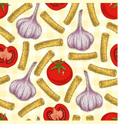 pasta and vegetables seamless pattern vector image