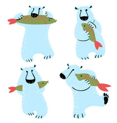 polar bears set with fish cute wild antarctic and vector image vector image