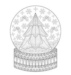 Zentangle Snow globe with Christmas fir tree vector image vector image
