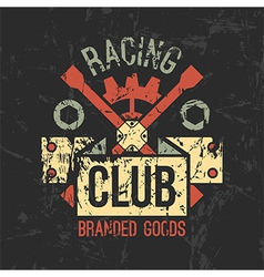 Car racing club emblem vector image vector image