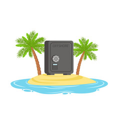 closed safe on a tropical island hidden in vector image