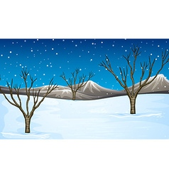 Field covered with snow vector image