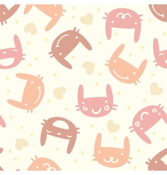 Pastel seamless pattern with cute bunny vector image