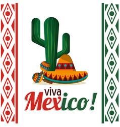 viva mexico - cactus maracas and hat vector image vector image