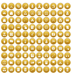 100 criminal offence icons set gold vector image
