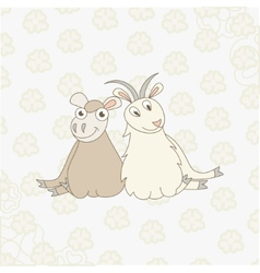 Cartoon sheep and goat on floral background vector image vector image