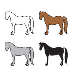 group of horse on a white background wild animals vector image
