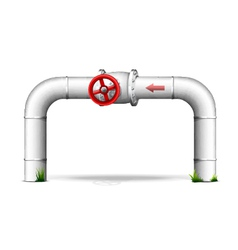 Pipe with red valve vector image vector image
