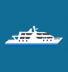 White luxurious passenger liner isolated on blue vector