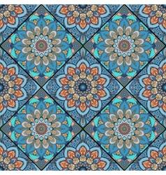 Boho tile flower squares colorful blue vector image