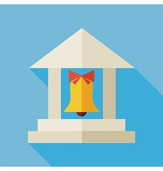 Flat Back to School Building with Long Shadow vector image