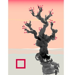 Greeting card template in Japanese style vector image vector image