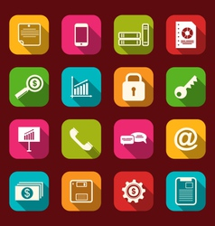 group simple flat icons of business and financial vector image vector image