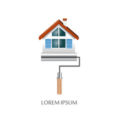 paint roller with house symbol icon vector image