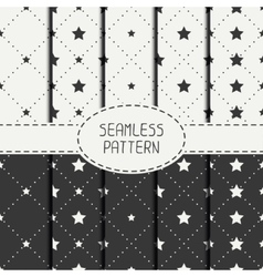 Set of geometric seamless stars pattern vector image
