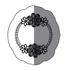 Sticker silhouette decorative border with flowers vector