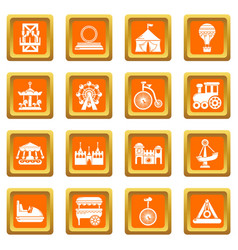 amusement park icons set orange square vector image