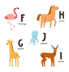 Animal alphabet letters f to j vector