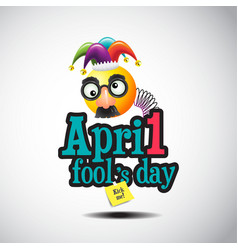 april fools day jester hat silly glasses and must vector image