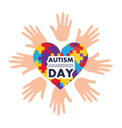 Autism awareness day open hands and heart with vector