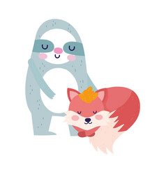 bashower cute sloth and fox cartoon vector image