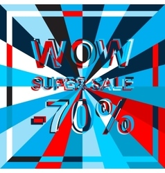 Big ice sale poster with WOW SUPER SALE MINUS 70 vector