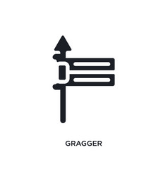 Black gragger isolated icon simple element from vector