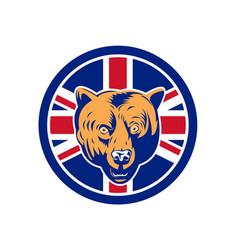 British bear union jack flag icon vector