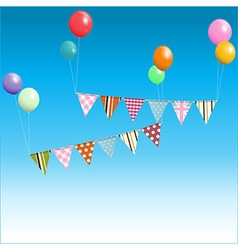 Bunting floating with balloons over blue sky vector image