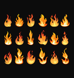 Burning fire or realistic flames vector