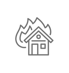 burning house fire insurance line icon isolated vector image