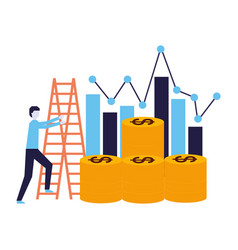 business man climb stairs coins chart vector image