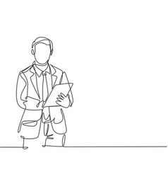 business workshop concept one single line drawing vector image