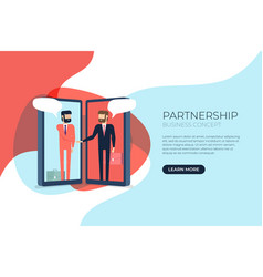 businessmen handshake on mobile vector image