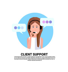 Call center headset agent woman client support vector